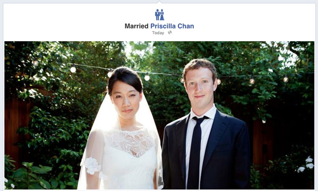 Facebook status changed as Mark Zuckerberg weds Priscilla Chan