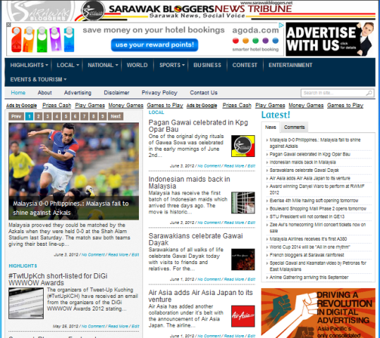 Sarawak Bloggers News Tribune reveals facelift