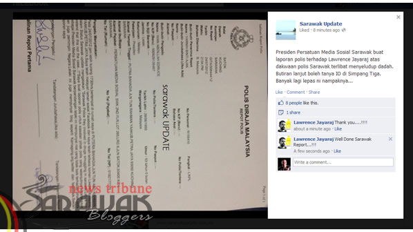 Sarawak Social Media Association President makes police report about Facebook comment