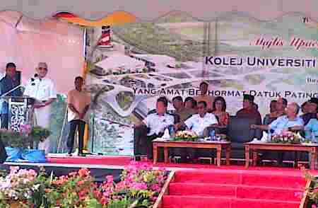 Taib Mahmud delivering his speech at the ground breaking ceremony.