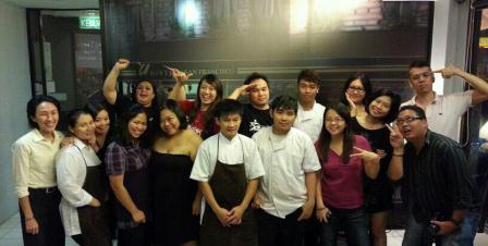 The bloggers with the partners and chefs of U Bistro
