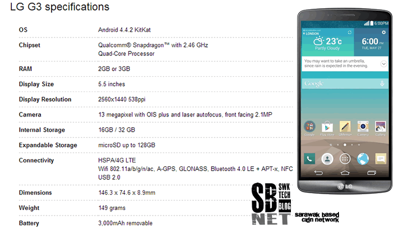LG G3 specifications