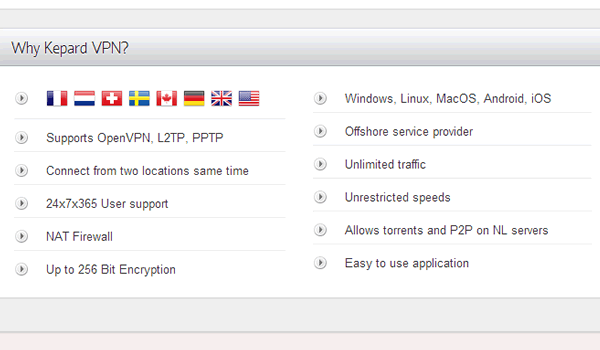 Features highlighted by Kepard VPN.