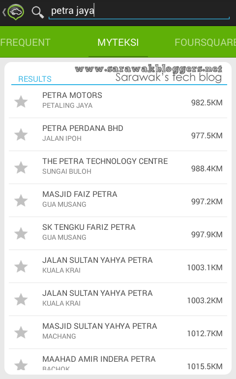 Looked for Petra Jaya in the GPS and had a lot of places far far away located. None in Kuching.