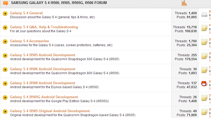 Different types of Samsung S4 bands found around the glob. Print screen taken from XDA developers.