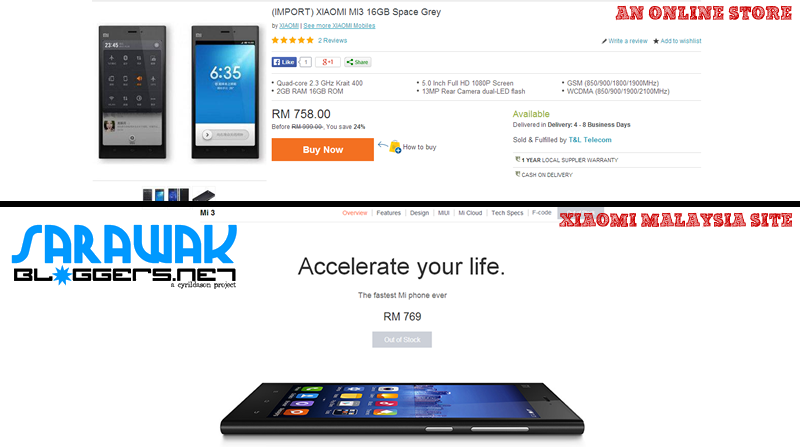 Comparison of price between an 'import Mi 3' and the original price offered by Xiaomi.