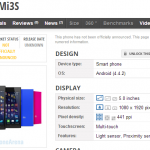 Xiaomi Mi 3S, Specifications