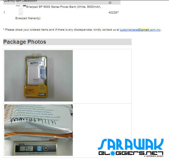 Two photographs of the item I ordered sent by iPmart.