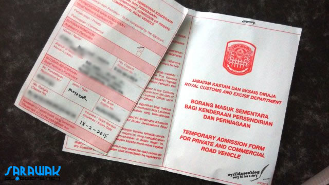 A form you need to fill before driving into Brunei with a foreign registered car.  The form is valid for a month.