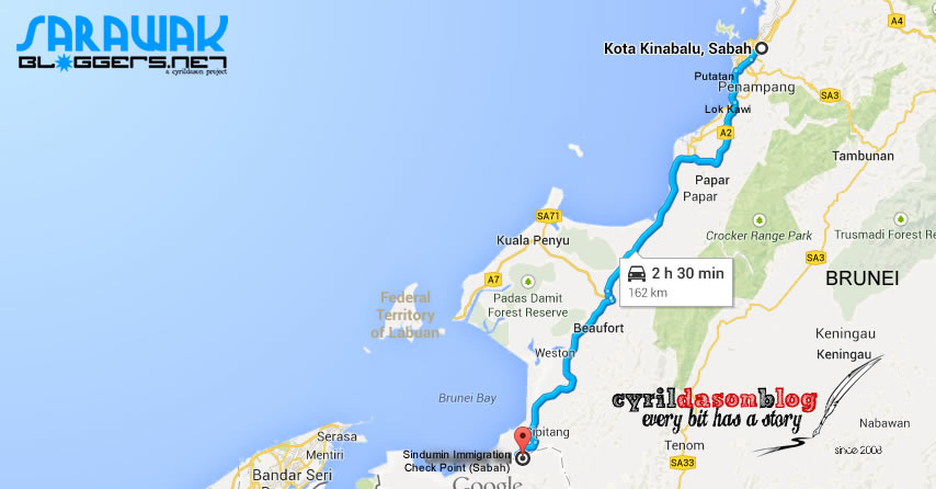 Route to Kota Kinabalu from the Sindumin Check-Point. Signange is there, so do not worry,