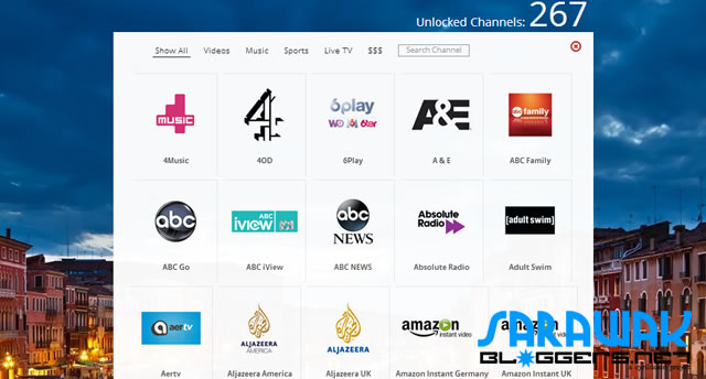 Some of the 267+ channels offered under UnoTelly