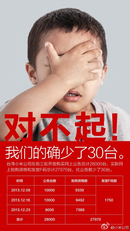 The cheeky apology advert by Xiaomi