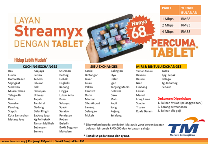 List of locations with Streamyx with free tablet