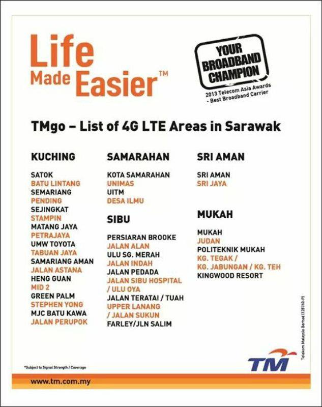 Coverage of TMgo in Sarawak for now