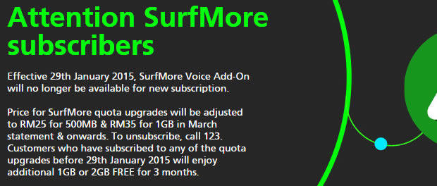 SurfMore no more, as Maxis increases rates to its most data friendly package