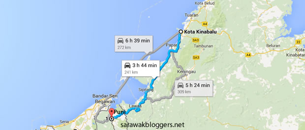 The fastest way to the Puni check-point from KK.