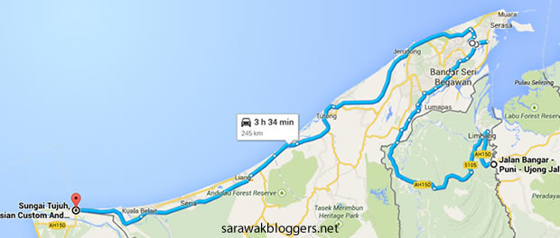The route we took after being lost. notice the difference in time.
